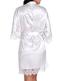 WPFING Hochzeits Roben für Brautpart Polyester Spitze Braut Nnachthemd Weiß Frauen Roben