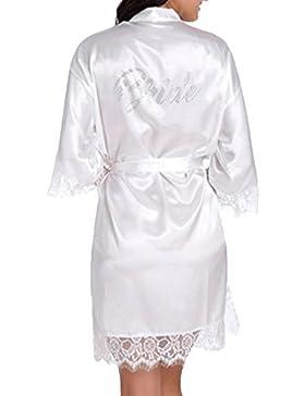 WPFING Vestaglia da Sposa Camicia da Notte in Pizzo Festa della Sposa in satin Vestaglia Donna Bianco Strass