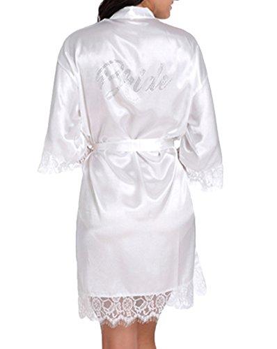 WPFING Vestaglia da Sposa in Pizzo Festa della Sposa in Polyester Vestaglia Donna Bianco (XXL)