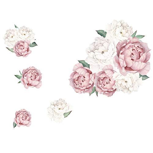 Meclelin Wandtattoo Wandsticker Abnehmbare Wandaufkleber Groß Blumen Pfingstrose Rose Hintergrund für Schlafzimmer Home Dekoration Aufkleber Blume Wohnzimmer (A)