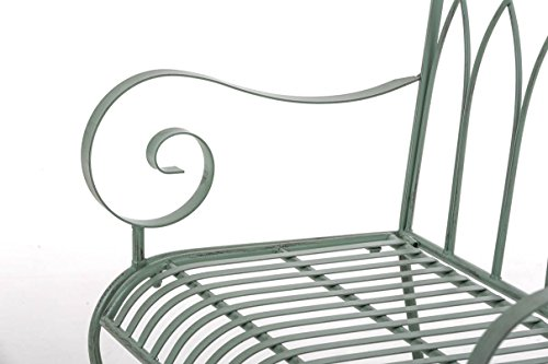 CLP Gartenbank DIVAN im Landhausstil, aus lackiertem Eisen, 106 x 51 cm – aus bis zu 6 Farben wählen Antik Grün - 8
