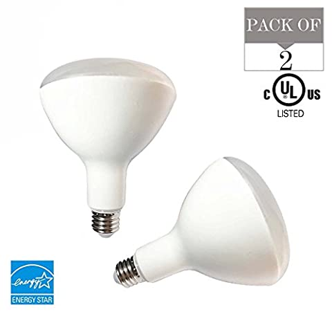 2-Pack BR40 LED Flood Bulbs ,15W(120 Watt Incandescent Equivalent),E27 Base,90V-265V,5000K(Daylight Glow),1500LM,CRI90+,UL-listed and Energy Star