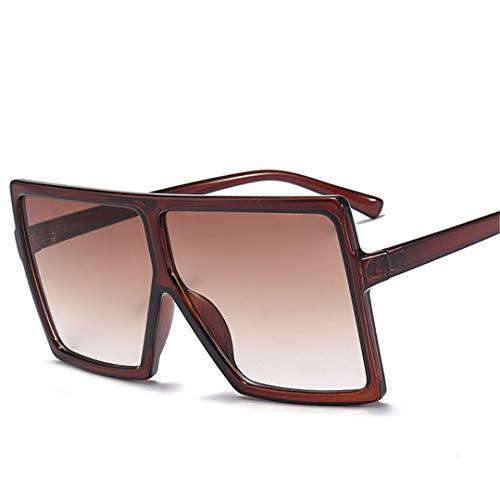 DAIYSNAFDN Big Frame Gradient Shades übergroße Sonnenbrille Square Vintage Damenmode Sonnenbrille C3