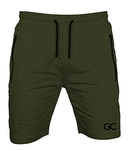 GYMCODES Shorts Herren   Kurze Hose für Sport Fitness Bodybuilding & Freizeit   Jogginghose - Sporthose - Trainingshose - Jogger - Sweatpants   Classic Air (M, Olive Green)