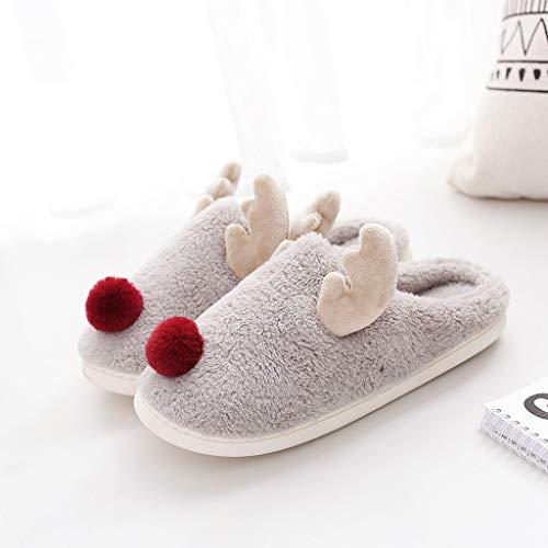 Pantofole Donna Home Morbido Antiscivolo Cotone Scarpe Caldo Peluche - Scarpe di Cotone per La Casa di Peluche di Moda Fulvo Cartone Animato(39-40,Grigio)