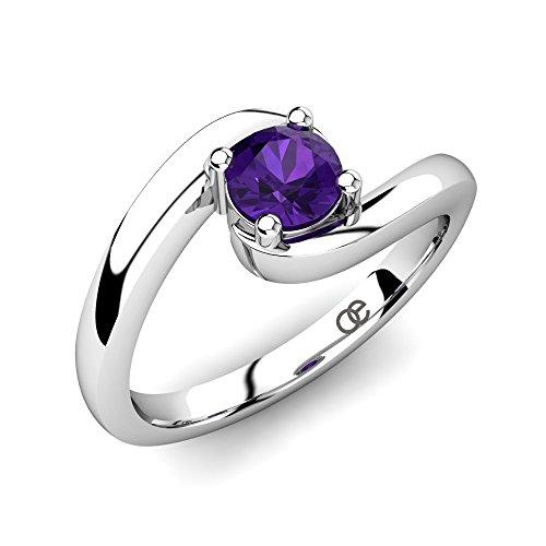 Moncoeur Silber-Ring Cherie mit einem hoch qualitativen Amethyst Edelstein in 925 Sterling Silber im trendigen Solitär Design und Comfort-Fit mit Luxusetui (62 (19.7))