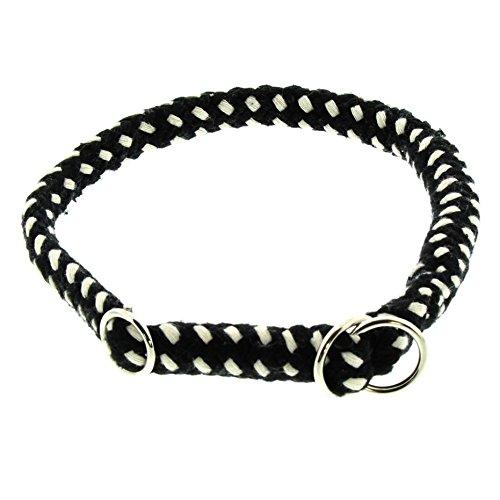 Dinoleine Hunde-Halsband/Stoppwürger, Größenverstellbar, Natürliche Baumwolle, Größe: M/ 55 cm, Schwarz/Weiß, 121414
