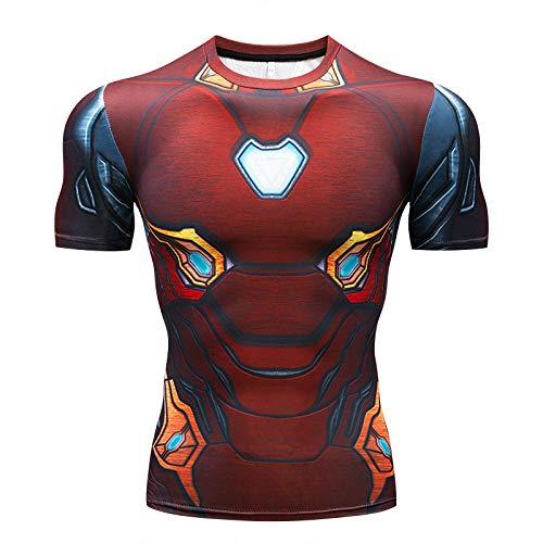 JUFENG Spider-Man Strumpfhosen Avengers 3 Infinite War Fitness Bekleidung Sport Schnelltrocknender Anzug Marvel Kurzarm T-Shirt,H-XXXXL