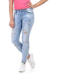 La Modeuse - Jeans délavé avecdesdéchirures et décoré de perles et strass