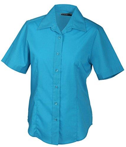 JAMES & NICHOLSON Bequemes, pflegeleichtes Kurzarm-Hemd und Damenbluse Turquoise