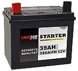LANGZEIT Batterien 35Ah 12V Rasentraktor Starterbatterie Aufsitzmäher Rasenmäher Plus Pol Links statt 26Ah 30Ah 32Ah