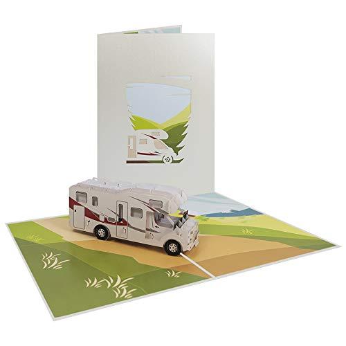 3D Pop Up Karte Wohnwagen Geburtstagskarte Glückwunschkarte Geburtstag Urlaub Reise Reisegutschein Fahrzeug - Wohnmobil 059