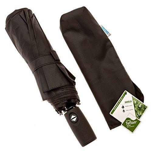 Kompakter Reise Regenschirm - winddicht Getestet bis 140 km/h - auf Knopfdruck automatisch Öffnen und Schließen - Lebenslange Garantie