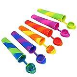 Tagvo Ice Pop Silikonformen, 6 Pack Set Lebensmittelqualität Silikon Popsicle Schimmel mit angebrachten Auslaufschutzkappen - Flexibel und Langlebig, Einfach Sauber und Keine Unordnung