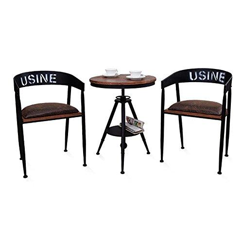 FEI Confortable Chaise de bar Chaises de loisirs en fer forgé Tables rondes et chaises Solide et durable (Couleur : D+D+E)