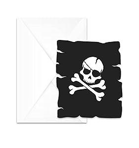 Procos - Invitaciones en sobre con diseño de piratas Black Skull, 6 unidades, multicolor, PR89703