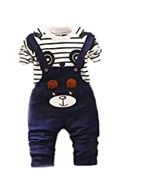 Bold N Elegant Blue White Cute Cartoon Dungaree Baby Boy Girl Clothing Jumpsuit Half Sleeve T-Shirt with Dungaree for 0-2 Year Kids