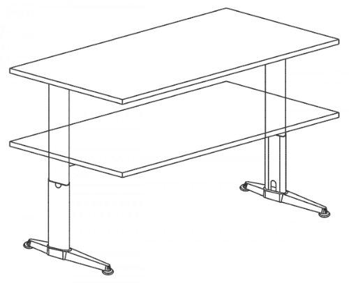 Schreibtisch Set Hammerbacher Serie XE 160 cm höhenverstellbar mit PC – Halterung & Kabelspirale in Dekor Lichtgrau - 6