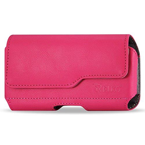 Reiko Leder Gürteltasche Schutzhülle für Samsung Galaxy Note 3-Retail Verpackung-Hot Pink - Hot Pink Horizontal Pouch