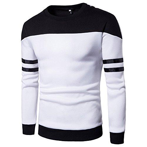 Xmiral Herren Pullover Sweatshirt Gestreiftes, langärmliges Patchwork-Oberteil Outwear Bottoming Shirt(L,Weiß) -