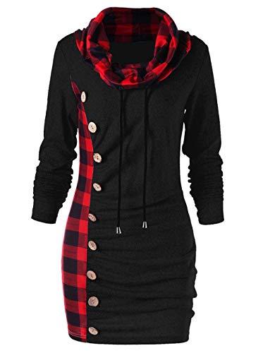 ZIYYOOHY Damen Pulloverkleid Kariert Rollkragen Langarm Strickkleider Sweatshirt Kleid Hoodies Pullover (M/38, Schwarz)