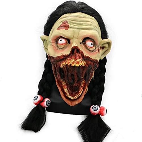 GXDHOME Halloween Latex Kopf Maske, Mädchen Grimasse Long Skorpion Faules Gesicht Horror Scary Ghost Zombie Kostüm Scary Teufel Demon Bloody