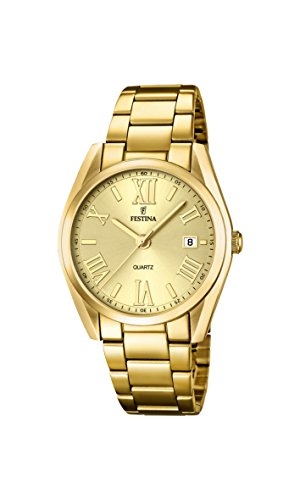 Festina Women's Quartz Watch with Gold Dial Analogue Display and Gold Stainless Steel Gold Plated Bracelet F16792/2