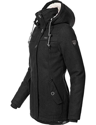 Ragwear Damen Wollmantel Wintermantel Winterparka Like You Schwarz Uni0818 Gr. M - 3