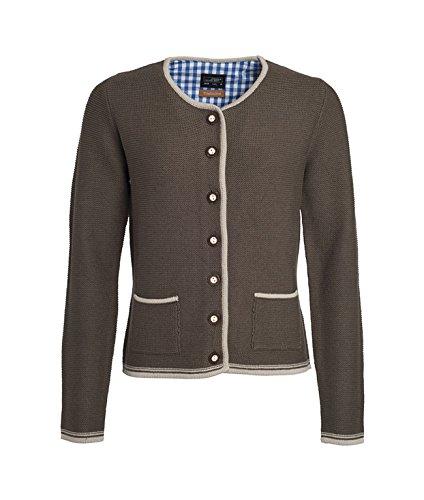 Ladies\' Traditional Knitted Jacket in brown-melange/beige/royal Größe: M