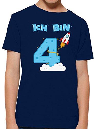 Shirtracer Ich bin Schon 4 Geburtstag Rakete Jungen T-Shirt (Navy, 3-4 Jahre 98-104 cm)