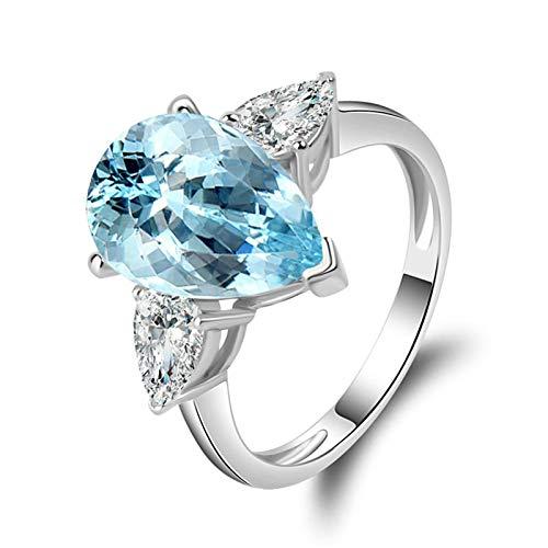 Beydodo 925 Silber Ring Damen Kristall TropfenHellblau Topaz Verlobungsring Silber Hochzeits-Ring Größe 57 (18.1)