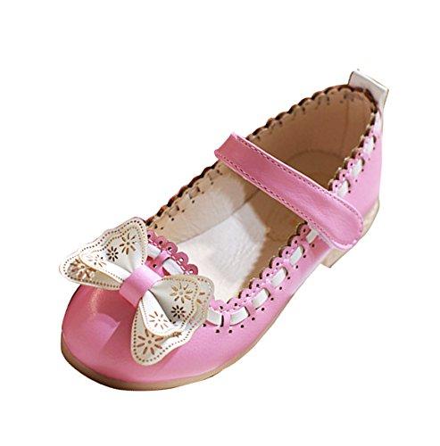 Gaorui Babys Kinder Mädchen Prinzessin Ballerinas Elegante Party Schuhe Rosa mit Bogen Knote Rosa