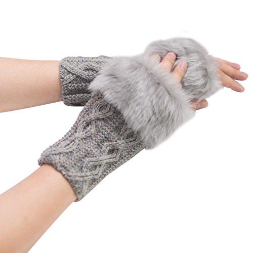 Damen Handschuhe AMUSTER Gestrickte Fingerhohl Warm Fäustlinge Wollmischung Strick Cabrio Isoliert Fingerless Handschuhe mit Fäustlinge Abdeckung (Grau)