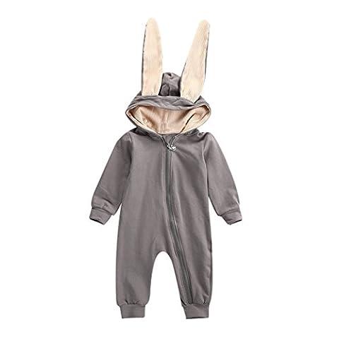 MIOIM Baby Overall Junge Mädchen Herbst Winter Jumpsuit Bodysuits Zipper Outfits Baumwolle Trainingsnazug mit Kaninchen Ohren