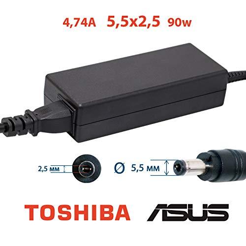 Laptop Netzteil 4.74A 5,5x2,5 19v 90w | Ladekabel für die Laptops ASUS, Toshiba | 2 Jahre Garantie auf das Laptop-Ladegerät | asus ladekabel