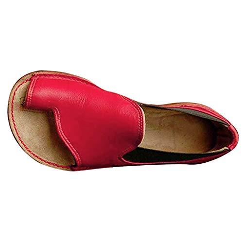 Sandalen Zehentrenner Damen Leder Elegant Römer Schuhe Frauen Vintage