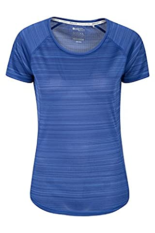 Mountain Warehouse Endurance Striped Women's Tee - UPF30+ UV Protection with Antibacterial, Lightweight, Quick Drying, Wicking Fabric, Easy to Pack Navy