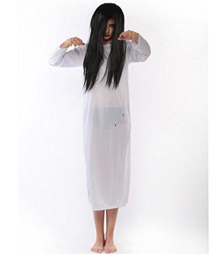 (DuuoZy Frauen Schrecklich Geister Zombie Lange Kleid Halloween Cosplay Kostüm, White, One Size)