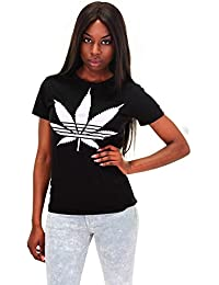 DSguided Damen Shirt Hanf Pflanze Cannabis T-Shirt in zwei Farben
