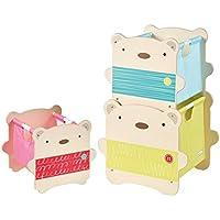 Preisvergleich für Unbekannt 3er Set Bär Spielzeugkiste stapelbar Regal Kinderzimmer Kindermöbel Holz Aufbewahrung Box Kiste