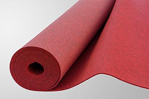 Filz, Filzstoff, Dekorationsfilz, imprägniert, Breite 100 cm, Dicke 4 mm, Meterware 0,5 lfm – melange rot