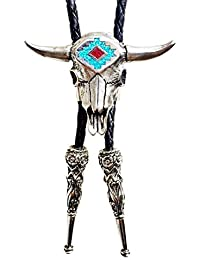 Bolo tie - Cravate Western Buffle cowboy - Metal argente Buffalo metal turquoise - Cordon cuir noir - Made in USA # BT-256