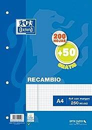 Hojas cuadriculadas A4 Recambio Oxford. 200+50 hojas. Cuadrícula 4x4.