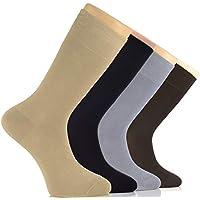 هيو يوغولي الرجال اللباس الخيرزان الجوارب سلس تو طاقم الأعمال الرجال الجوارب رقيقة ، 4 أزواج ، حجم الأحذية: 8-12 Beige / Black / Light Grey / Dark Brown Shoe Size: 8-12