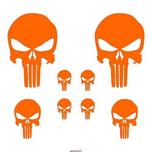Autodomy Punisher Skull Aufkleber Paket 8 Stück für Auto oder Motorrad (Neon Orange) (Wolverine-aufkleber)
