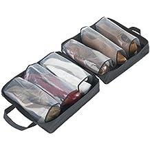 Wenko - Bolsa lavable para 3 pares de zapatos con película de plástico, 37 x 37 x 15 cm, color negro y marrón