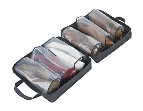 WENKO 4204010100 Schuhtasche Deep Black - für 3 Paar Schuhe, abwaschbar, Kunststoff - PEVA, 37 X 37 X 15 cm, Schwarz