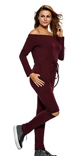 Y-BOA Combinaison Pantalon Fendu Femme Bandeau Épaule Élastique Bordeaux