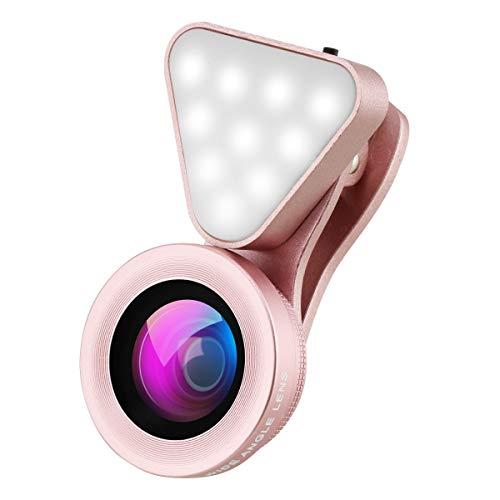 Smartphone-Kamera-Objektiv, Wiederaufladbare Selfie Ringlicht, 15X Makroobjektiv und Weitwinkel-Objektiv, Level 3 Einstellbare Helligkeit Fill-Licht für iPhone X, Samsung, On-Kamera-Videoleuchte,Rosa