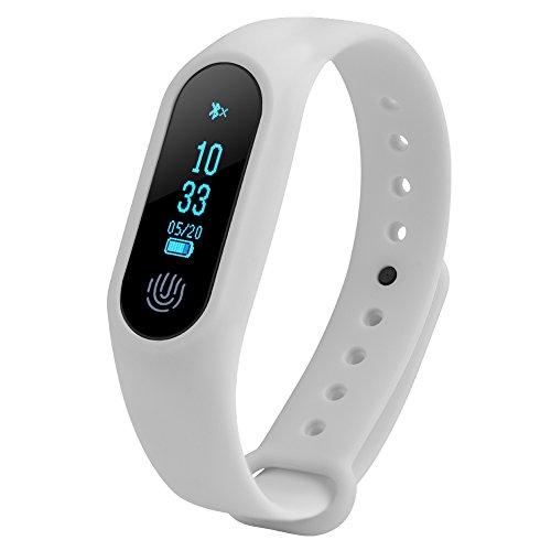 Fosa Pulsera Inteligente con Monitor de Ritmo Cardíaco,Monitor de Presión Arterial,Podómetro, Monitor de Sueño, Recordatorio,Pulsera Reloj Bluetooth con Pantalla OLED Compatible con iOS y Android(Blanco)